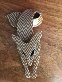 Fox Pin by Lea Stein of Paris - Black Eyed Fox Brooch in Herringbone Pattern - Caramel Brown and Gold (SOLD)